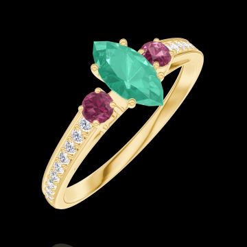Ring Create 162346 Yellow gold 9 carats - Emerald Marquise 0.3 Carats - Ring settings Ruby - Setting Diamond white