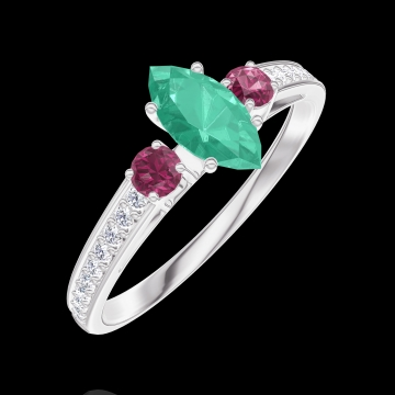 Ring Create 162348 White gold 9 carats - Emerald Marquise 0.3 Carats - Ring settings Ruby - Setting Diamond white