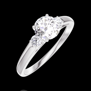 Create Engagement Ring 162423 White gold 18 carats - Diamond white Round 0.5 Carats - Ring settings Diamond white