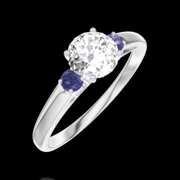 Anillo Create 162463 Oro blanco 18 quilates - Diamante Redonda 0.5 quilates - Piedras laterales Zafiro azul