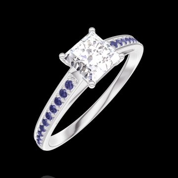 Create Engagement Ring 162515 White gold 18 carats - Diamond white Princess 0.5 Carats - Setting Blue Sapphire