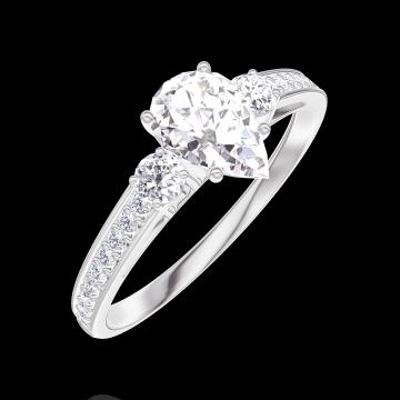 Ring Create 182828 White gold 9 carats - Laboratory Diamond Pear 0.5 Carats - Ring settings Diamond white - Setting Diamond white