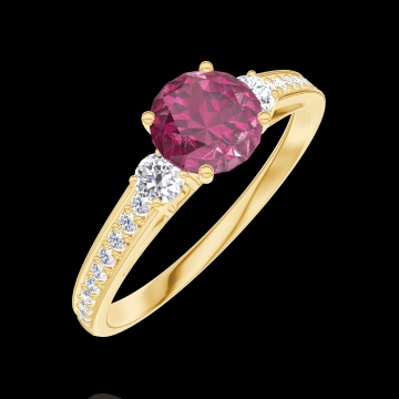 Bague Create 163025 Or jaune 18 carats - Rubis Rond 0.5 carat - Pierres de côté Diamant - Sertissage Diamant
