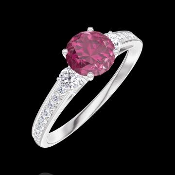 Anello Create 163028 Oro bianco 9 carati - Rubino Rotondo 0.5 Carati - Pietre laterali Diamante - Incastonatura Diamante