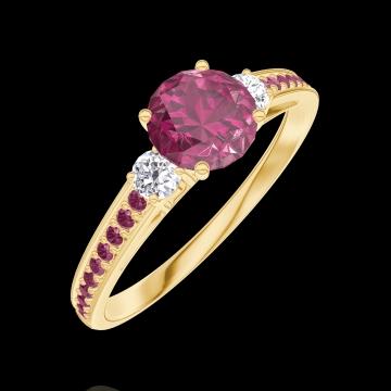 Ring Create Engagement 163029 Geel goud 18 karaat - Robijn Rond 0.5 Karaat - Aanleunende edelstenen Natuurlijke diamant - Setting Robijn