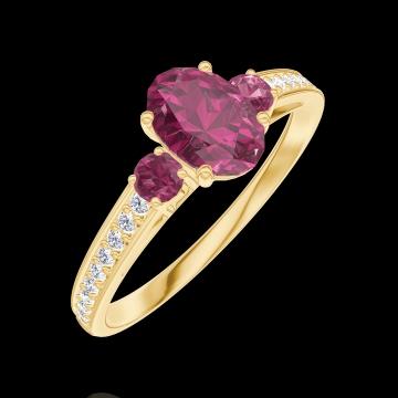 Anello Create Engagement 163346 Oro giallo 9 carati - Rubino Ovale 0.5 Carati - Pietre laterali Rubino - Incastonatura Diamante