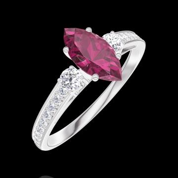 Anello Create 163528 Oro bianco 9 carati - Rubino Marchesa 0.5 Carati - Pietre laterali Diamante - Incastonatura Diamante