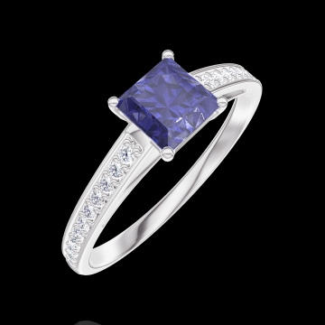 Bague Create 163708 Or blanc 9 carats - Saphir bleu Princesse 0.5 carat - Sertissage Diamant