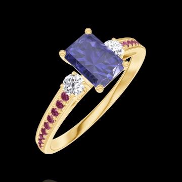 Ring Create 163830 Gelbgold 375/-(9Kt) - Blauer Saphir Rechteckig 0.5 Karat - Seitliche Steine Diamant - Fassung Rubin