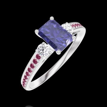 Ring Create 163832 Weißgold 375/-(9Kt) - Blauer Saphir Rechteckig 0.5 Karat - Seitliche Steine Diamant - Fassung Rubin