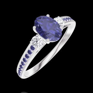 Create Engagement Ring 163936 White gold 9 carats - Blue Sapphire Oval 0.5 Carats - Ring settings Diamond white - Setting Blue Sapphire
