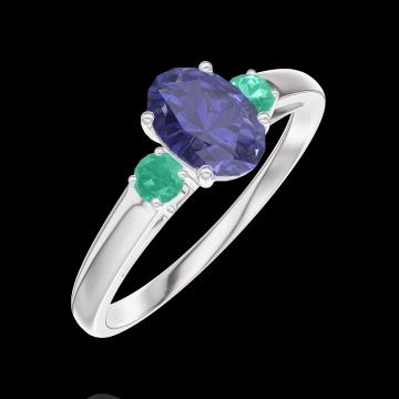 Ring Create 163983 Weißgold 750/-(18Kt) - Blauer Saphir Oval 0.5 Karat - Seitliche Steine Smaragd