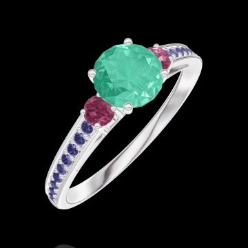 Ring Create 164256 White gold 9 carats - Emerald Round 0.5 Carats - Ring settings Ruby - Setting Blue Sapphire