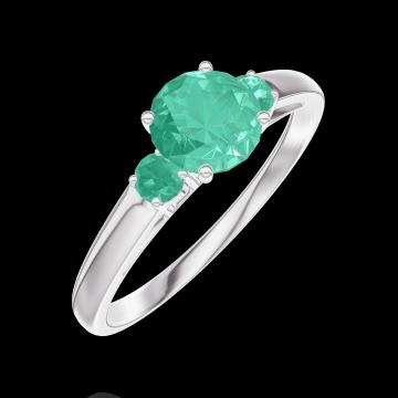 Bague Create 164284 Or blanc 9 carats - Émeraude Rond 0.5 carat - Pierres de côté Émeraude