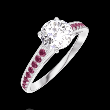 Ring Create 164811 White gold 18 carats - Diamond white Round 0.7 Carats - Setting Ruby