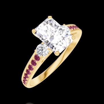 Anello Create Engagement 165029 Oro giallo 18 carati - Diamante Rettangolo 0.7 Carati - Pietre laterali Diamante - Incastonatura Rubino