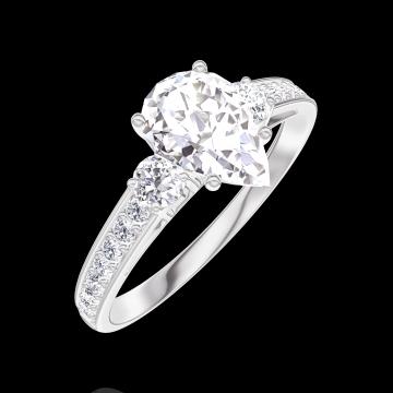 Anillo Create 165228 Oro blanco 9 quilates - Diamante Pera 0.7 quilates - Piedras laterales Diamante - Engastado Diamante