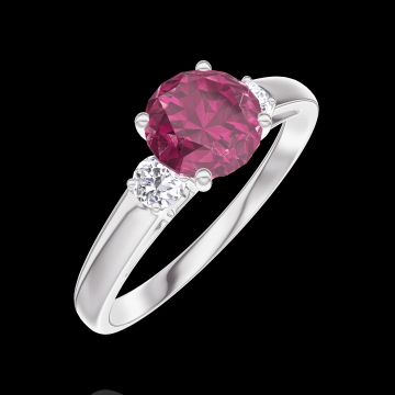 Create Engagement Ring 165424 White gold 9 carats - Ruby Round 0.7 Carats - Ring settings Diamond white