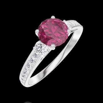 Anillo Create 165428 Oro blanco 9 quilates - Rubí redondo 0.7 quilates - Piedras laterales Diamante - Engastado Diamante