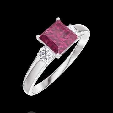 Create Engagement Ring 165524 White gold 9 carats - Ruby Princess 0.7 Carats - Ring settings Diamond white