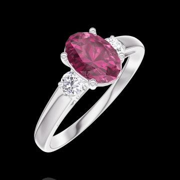 Create Engagement Ring 165724 White gold 9 carats - Ruby Oval 0.7 Carats - Ring settings Diamond white