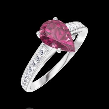 Ring Create 165808 Weißgold 375/-(9Kt) - Rubin Tropfen 0.7 Karat - Fassung Diamant