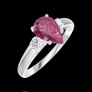 Create Engagement Ring 165824 White gold 9 carats - Ruby Pear 0.7 Carats - Ring settings Diamond white