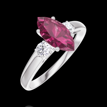 Create Engagement Ring 165924 White gold 9 carats - Ruby Marquise 0.7 Carats - Ring settings Diamond white