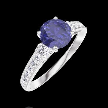 Creare Inel de Logodnă 166028 Aur alb 9 carate - Safir albastru Rotund 0.7 carate - Pietre laterale Diamant natural - Încrustare Diamant natural