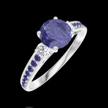 Ring Create 166035 Witgoud 18 karaat - Blauwe saffier Rond 0.7 Karaat - Aanleunende edelstenen Diamant - Setting Blauwe saffier