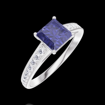 Ring Create 166107 White gold 18 carats - Blue Sapphire Princess 0.7 Carats - Setting Diamond white
