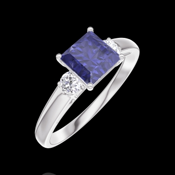 Anillo Create 166124 Oro blanco 9 quilates - Zafiro azul Princesa 0.7 quilates - Piedras laterales Diamante