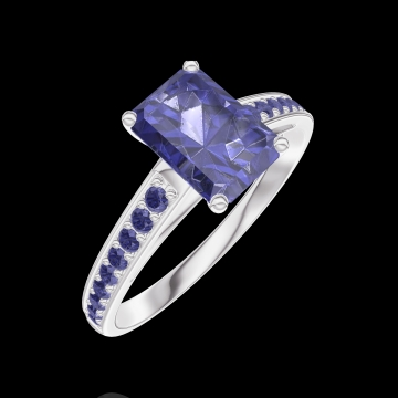 Bague Create 166216 Or blanc 9 carats - Saphir bleu Rectangle 0.7 carat - Sertissage Saphir bleu