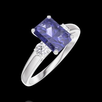 Ring Create 166224 Weißgold 375/-(9Kt) - Blauer Saphir Rechteckig 0.7 Karat - Seitliche Steine Diamant