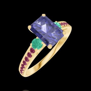 Bague Create 166290 Or jaune 9 carats - Saphir bleu Rectangle 0.7 carat - Pierres de côté Émeraude - Sertissage Rubis