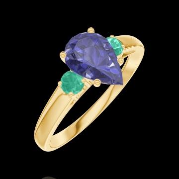 Ring Create 166481 Gelbgold 750/-(18Kt) - Blauer Saphir Tropfen 0.7 Karat - Seitliche Steine Smaragd