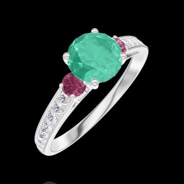Bague Create 166648 Or blanc 9 carats - Émeraude Rond 0.7 carat - Pierres de côté Rubis - Sertissage Diamant