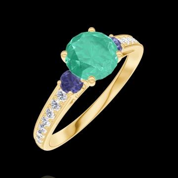 Bague Create 166666 Or jaune 9 carats - Émeraude Rond 0.7 carat - Pierres de côté Saphir bleu - Sertissage Diamant