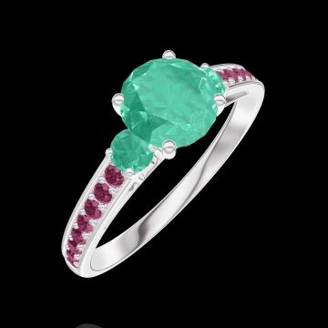 Ring Create 166692 Weißgold 375/-(9Kt) - Smaragd Rund 0.7 Karat - Seitliche Steine Smaragd - Fassung Rubin