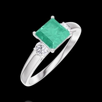 Bague Create 166724 Or blanc 9 carats - Émeraude Princesse 0.7 carat - Pierres de côté Diamant