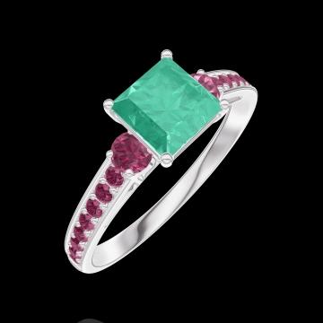 Ring Create 166752 Weißgold 375/-(9Kt) - Smaragd Prinzess 0.7 Karat - Seitliche Steine Rubin - Fassung Rubin