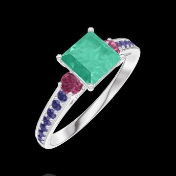 Ring Create 166756 Weißgold 375/-(9Kt) - Smaragd Prinzess 0.7 Karat - Seitliche Steine Rubin - Fassung Blauer Saphir