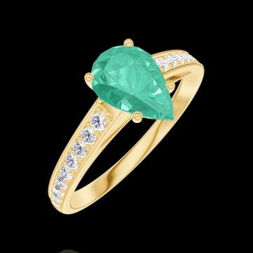 Ring Create 167006 Gelbgold 375/-(9Kt) - Smaragd Tropfen 0.7 Karat - Fassung Diamant