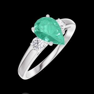 Anillo Create 167024 Oro blanco 9 quilates - Esmeralda Pera 0.7 quilates - Piedras laterales Diamante