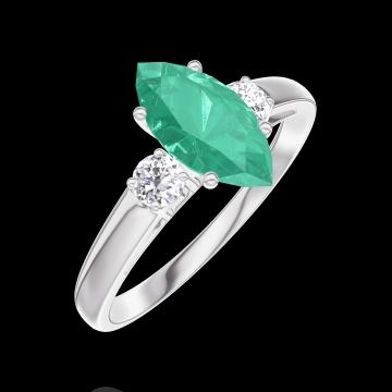 Anillo Create 167124 Oro blanco 9 quilates - Esmeralda Marquesa 0.7 quilates - Piedras laterales Diamante