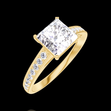 Create Engagement Ring 167305 Yellow gold 18 carats - Diamond white Princess 1 Carats - Setting Diamond white