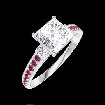 Anello Create Engagement 167332 Oro bianco 9 carati - Diamante Principessa 1 Carati - Pietre laterali Diamante - Incastonatura Rubino