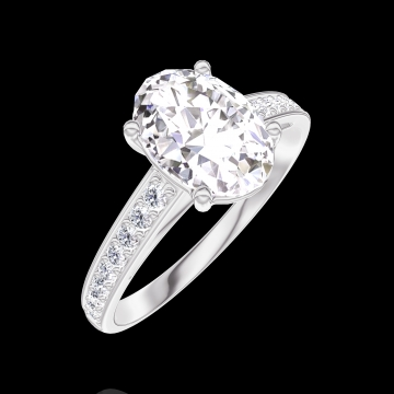 Create Engagement Ring 167507 White gold 18 carats - Diamond white Oval 1 Carats - Setting Diamond white