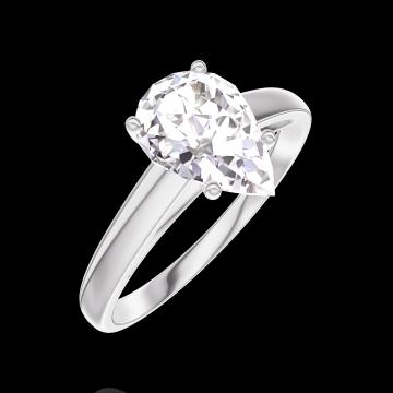 Bague Create 167603 Or blanc 18 carats - Diamant Poire 1 carat