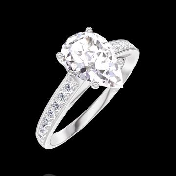 Bague Create 167607 Or blanc 18 carats - Diamant Poire 1 carat - Sertissage Diamant